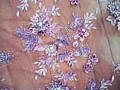 Embroidered 3D Applique Fabric Lavender Mauve Sequin Rhinestone Floral Design (DH78)