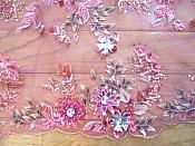 Embroidered 3D Applique Fabric Fuchsia Sequin Rhinestone Floral Design (DH78)