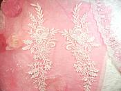 "Embroidered Lace Appliques White Romantic Rose Floral Venice Lace Mirror Pair 16"" (DH79X)"