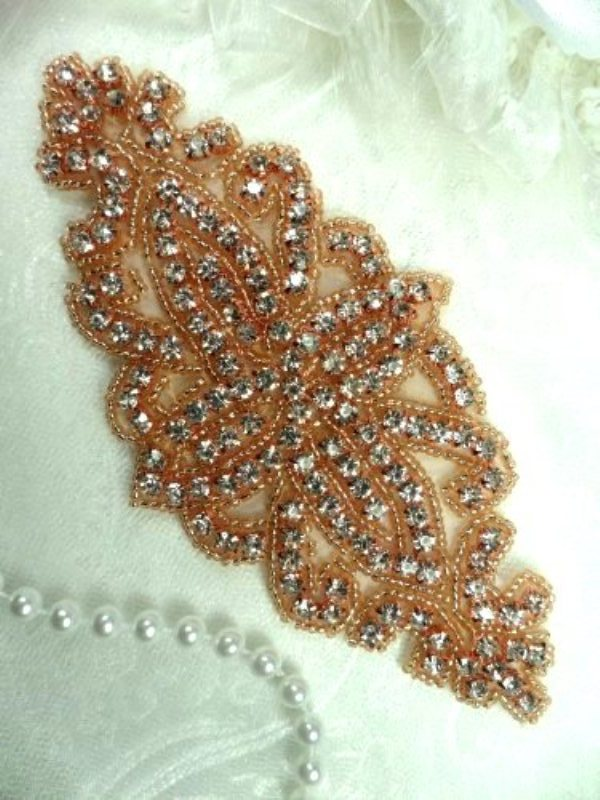 DH8 Rose Gold Applique Crystal Glass Rhinestones Gold Beaded Bridal Sash Patch 6""