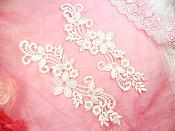 """Embroidered Lace Appliques White Floral Venice Lace Mirror Pair 9.5"""" (DH81X)"""