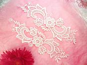 "Embroidered Lace Appliques White Floral Venice Lace Mirror Pair 10.5"" (DH82X)"