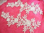 """Romantic Roses Embroidered Lace Appliques White Floral Venice Lace Mirror Pair 13"""" (DH83X)"""