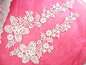 """Embroidered Lace Appliques White Floral Venice Lace Mirror Pair 14.5"""" (DH84X)"""