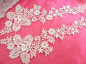 "Embroidered Lace Appliques White Floral Venice Lace Mirror Pair 14.5"" (DH84X)"