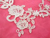 "Embroidered Lace Appliques White Floral Venice Lace Mirror Pair Motifs 11"" (DH85X)"