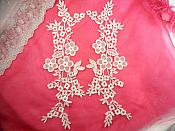 "Shimmering White Floral Embroidered Lace Appliques Venice Lace Mirror Pair 14"" (DH86X)"