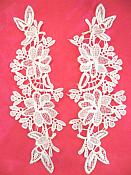 """Embroidered Lace Appliques White Floral Venice Lace Mirror Pair 10"""" (DH87X)"""