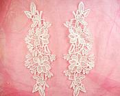"Embroidered Lace Appliques White Floral Venice Lace Mirror Pair 10"" (DH87X)"