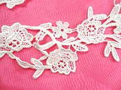 "Embroidered Lace Appliques White Floral Venice Lace Mirror Pair 14"" (DH88X)"