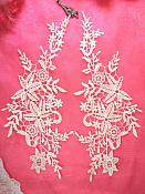 """Embroidered Lace Appliques White Floral Venice Lace Mirror Pair 11"""" (DH89X)"""