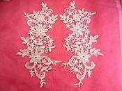 "Embroidered Lace Appliques White Floral Venice Lace Mirror Pair 12.5"" (DH90X)"