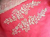 "Embroidered Lace Appliques White Floral Venice Lace Mirror Pair 15"" (DH91X)"
