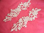"Embroidered Lace Appliques White Floral Venice Lace Mirror Pair 10"" (DH92X)"