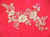 """White Silver Bridal Floral Venice Lace Applique 9.5"""" (DH94)"""