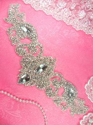 RMDH1-SLCR REDUCED Rhinestone Applique Silver Beaded Crystal Glass Bridal Motif 12""