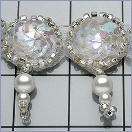 "FS189  ""Circle and a Dot"" Crystal AB Aurora Borealis Silver Pearl Beaded Sequin Trim"