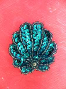 E1133 Seashell Applique Sequin Beaded Turquoise Nautical Patch 2""