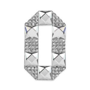 E1328/0 Crystal Rhinestone Applique Number Zero Iron On Patch 2.5""