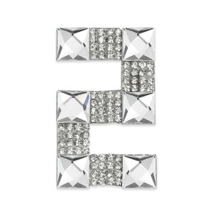 E1328/2 Crystal Rhinestone Applique Number Two Iron On Patch 2.5""