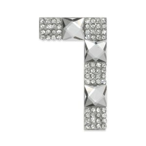 E1328/7 Crystal Rhinestone Applique Number Seven Iron On Patch 2.5""