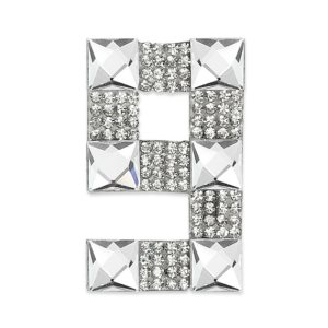 E1328/9 Crystal Rhinestone Applique Number Nine Iron On Patch 2.5""