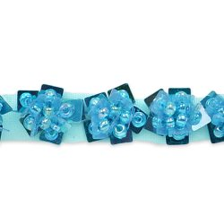 E1554 Floral Sequin Beaded Trim Blue .5""