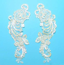 RME2719 REDUCED Ivory Mirror Pair Venise Lace Beaded Sequin Appliques