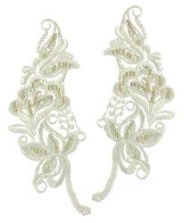"""E2723x Ivory Bridal Venise Lace Mirror Pair Sequin Appliques 9"""""""
