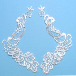 """E2736x White Bridal Venise Lace Mirror Pair Sequin Appliques 9"""""""