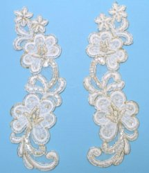 E32756 White Pearl Venise Lace Mirror Pair Appliques With Gold Trim  10""