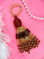 E3652  Brown & Gold Beaded Tassel 3""