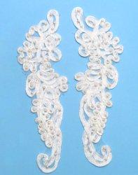 """E3704 White Floral Venise Lace Mirror Pair Pearl Appliques 9.25"""""""