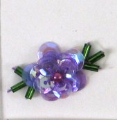 E3940 Set of 10 Lavender AB Sequin Flower Green Leaf Beaded Appliques 1""