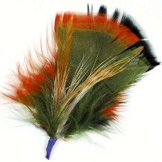 E4101 Feather Motif Olive Multi 3&quot;