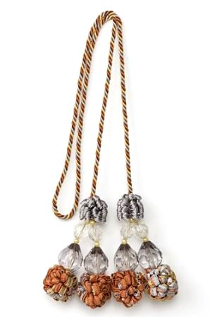 E4401 Tassel Slate Multi  Ball and Bead Tieback Tassel