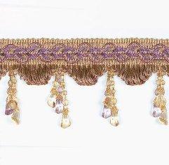 "E4487 Fringe Trim Victorian Drop Bead Gold Lavender Multi 3.25"""