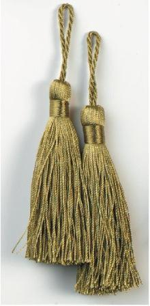 """E5524  Set of Two Sage Green Tassels 3.75"""""""