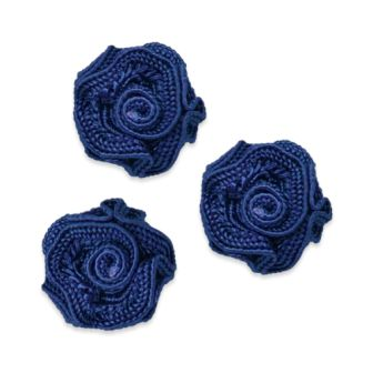 E5500  Flower Appliques Navy Blue Set of ( 3 ) Ruffled Floral Rose  3/4""