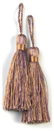 """E5524  Set of Two Brown and Plum Tassels 3.75"""""""