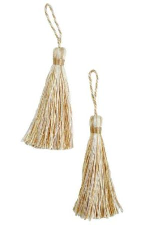E5524  Set of Two Beige Gold Fiber Tassels 3.75""