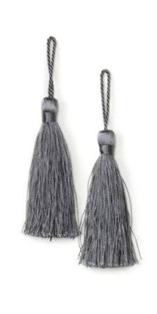 """E5524  Set of Two Pewter Tassels 3.75"""""""