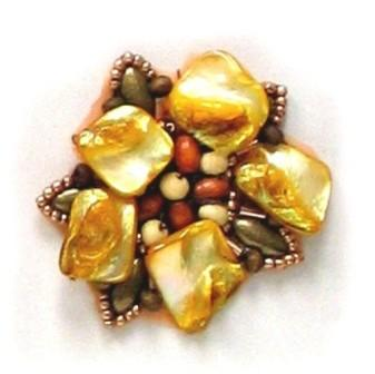 E5863  Gold Copper Shell  Beaded Applique Motif  2""