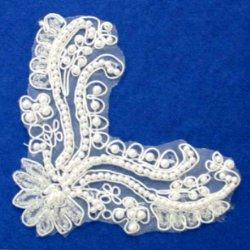 """E6414 White Bridal Pearl Scroll Corner Accent Venise Lace Applique  4.5"""""""