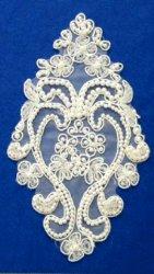 """E6454 White Bridal Pearl Beaded Vase Venise Lace Applique 6.75"""""""