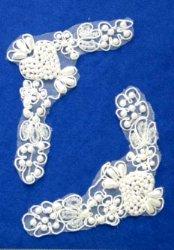 """E6456x White Floral Venise Lace Mirror Pair Pearl Appliques 4.5"""""""