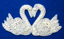 E6568 Double Swan Heart Sequin Beaded Pearl Applique White 5.25""