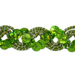 E6967  Lime Green Silver Sequin Trim Holographic Ric Rac Braid  3/4""
