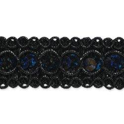"""E6973  Black  Sequin Metallic Braid Trim 7/8"""""""