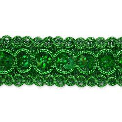 E6973  Green Sequin Metallic Braid Trim 7/8""